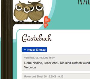 Erstellt eure eigene Hochzeitshomepage mit integriertem online Gästebuch.